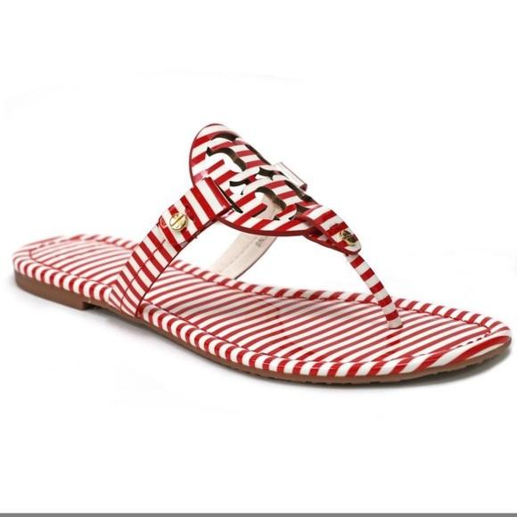 fe5d9d07f13c Tory Burch Red  White Nautical Striped Miller NIB